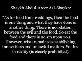 The Ruling on Food received from Innovated and Sinful Celebrations